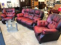 Red chesterfield suite
