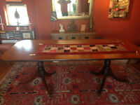 Hardwood dining table 220cm long x 100cm wide x76cm high.