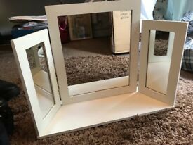 Cream dressing table triple mirror