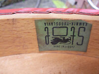 Vintage STOL wood bar stool with vinyl cover -shabby chic project