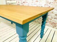 Dining Table - All Sizes Farmhouse Oak AB Grade Extending - Any Farrow & Ball Colour