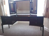 Bedroom furniture - Vintage stag 5 drawer Mahogany dressing table with 3 angled mirrors.