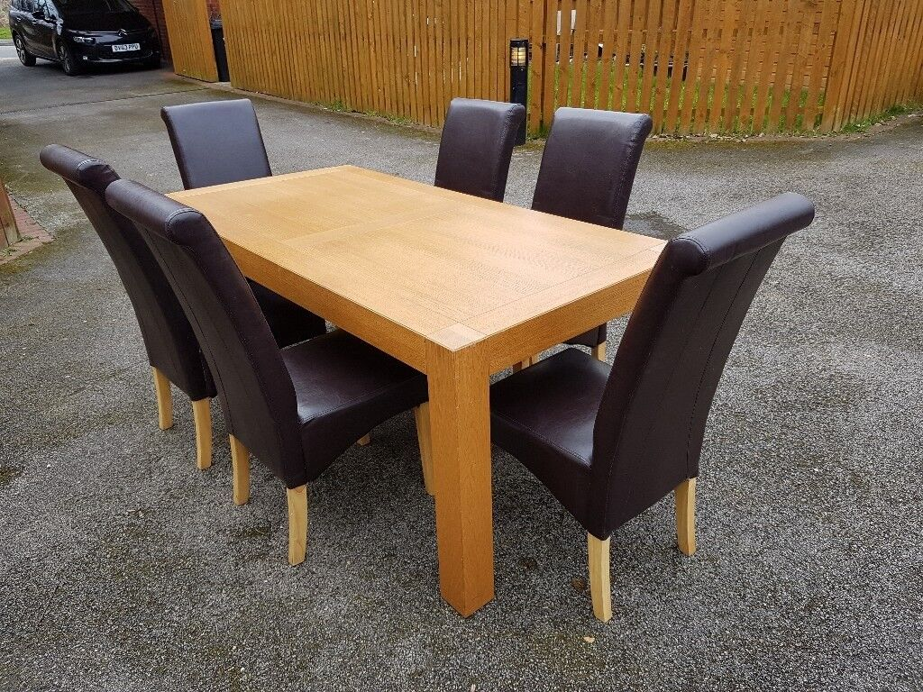 Large modern g plan oak dining table 6 leather chairs free delivery 683