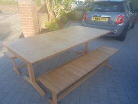 Habitat Oak Table & Benches