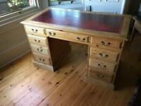 Reproduction antique style leather topped desk