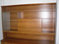Large Wall/Display Unit, Teak Colour With Glass Display, Drop Down Cupboard
