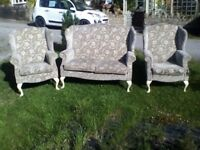Wow Rare, Stylish & Vintage Parker Knoll Style Wing Back Sofa and Armchairs