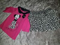 VERY CUTE LITTLE SPOTTY SKIRT MATCHING TOP WITH DALMATIAN DOG 18-24 MONTHS BRAND NEW