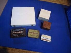 4 wooden trinket boxes and 2 tobacco tins