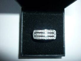 Ladies sterling silver faux diamond 3 row band ring