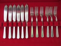 James Dixon & Sons Silver type Fish Cutlery Set, 6 knives & 6 forks