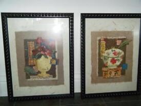 2 large prints in frames
