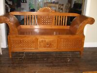 Unusual and Unique Hand Carved Asian (Oriental) Teak Bench with Drawer