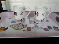 Tray + 2 mugs