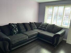 Black and grey scatter cushion corner sofa