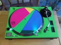 Technics 1210 mk2. Green colour, with green LEDs throughout.