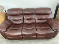Brown leather suite 3 seat sofa 🛋 and 1 chair recliner