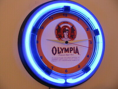 OLY Olympia Beer Bar Tavern Advertising Man Cave Neon Clock Sign