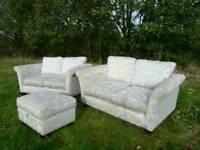 Cream 2x2 Seater Sofas+Footstool