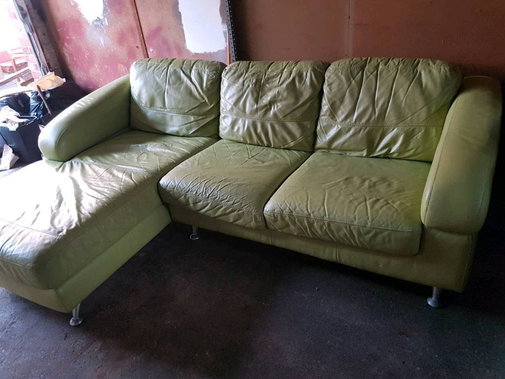 Lime Green Leather Corner Sofa