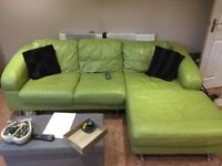 Lime soft leather sofa and chair !