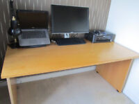 Wide Office Desk with Real Wood Table Top - FURNITURE