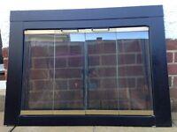 Fireplace Glass Firescreen, Pleasant Hearth Arrington Model No. AR1020, with bi-fold doors