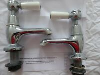 Hudson Reed Chrome Ceramic Wc Lever and WHITE TOPAZ BASIN TAPS