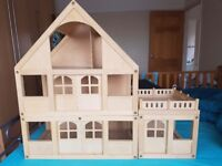 Wooden ELC dolls house with furniture & dolls