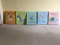 NURSERY CANVAS PICTURES (X5 ) IN AMAZING CONDITION