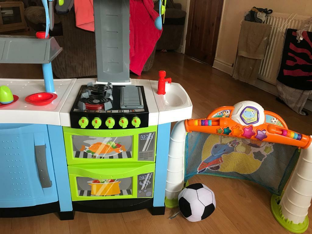 Play kitchen and pre school football goal.