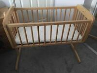 Mothercare Obaby Sophie Swinging crib and mattress in country pine