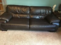 3 seater leather sofa, with curved storage footstool and electric recliner chair. Dark brown leather