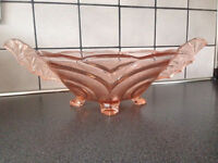 Art Deco Pink Glass Oval Bowl