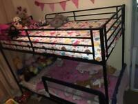 Bunk Bed 3ft Single Metal Bed With Ladder Side Rails Bunk Bed (USED) (BLACK)