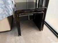 Black glass coffee table set