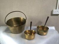 Brass pots & pans.