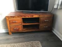 Solid wood television stand