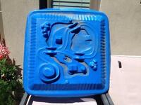 Molded plastic sandbox, water table, or kid pool cover