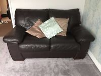 Dark brown leather DFS three and two seater sofa set
