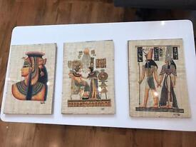 3x Egyptian Papyrus Framed Wall Art