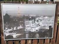 """Ikea VILSHULT """"Paris City At Night"""" Extra Large Black & White and GOLD Wall Print 140cm"""