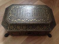 Antique Chinese metal sewing box. Beautiful ornate design 1800c