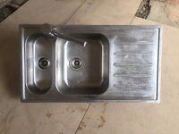 Stainless steel Ikea VATTUDALEN kitchen sink and YTTRAN mixer tap in good condition