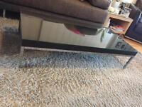Ikea coffee table with metal feet and custom made glass top