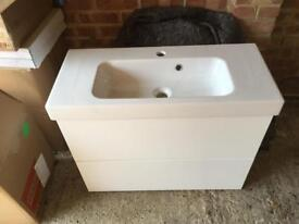 Bathroom basin and cabinet (ex display Ripples)
