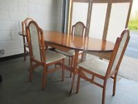 DOUBLE PEDESTAL EXTENDING DINING TABLE WITH FOUR DINING CHAIRS FREE DELIVERY