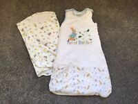 Swaddle blanket and peter rabbit sleep bag (0-6 months)