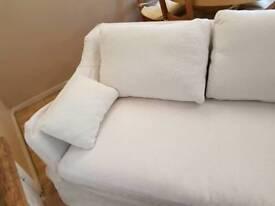 ikea white two seat sofa