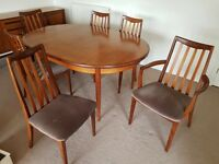 Teak G-plan alfresco dining table and 6 chairs